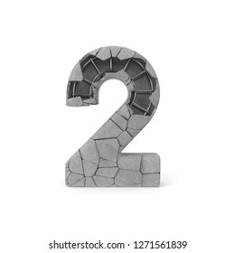 Concrete Number 2 with clipping path. 3D illustration