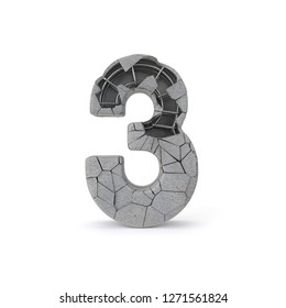 Concrete Number 3 with clipping path. 3D illustration