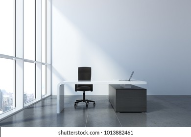 Concrete office interior with workplace and city view with daylight. Design concept. 3D Rendering