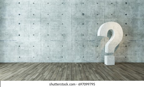 concrete questions marks in empty room with concrete wall and under spot light 3D rendering