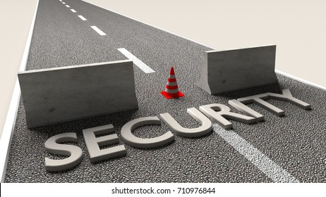 Concrete roadblocks on a street with the word security 3D illustration