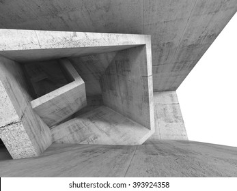 Concrete room interior with chaotic cubic structures and empty window. Abstract architecture background, 3d illustration