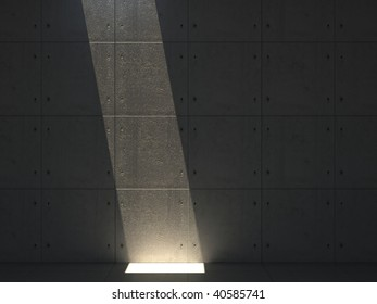concrete room with light beam.