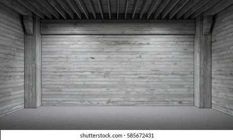 concrete room with spotlights as background 3d rendering
