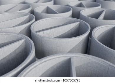 Concrete shaft manhole rings - 3D Rendering