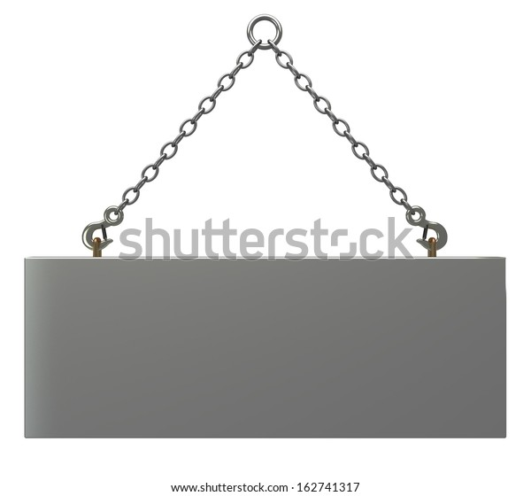Concrete Slab On Metal Hanging Rope Stock Illustration 162741317