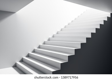 Concrete staircase in grey interior. Success and growth concept. 3D Rendering