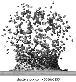 Concrete surface explosion destruction. Demolition stone background. 3d render illustration