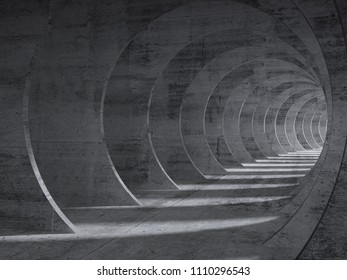 Concrete tunnel interior with perspective effect. 3d illustration