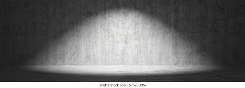 Concrete wall as background with spotlight from above 3d rendering