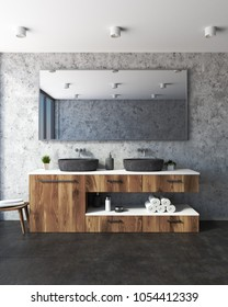 Concrete wall bathroom interior with a concrete floor, and a double sink standing on a wooden shelf. A large horizontal mirror is hanging above it. 3d rendering