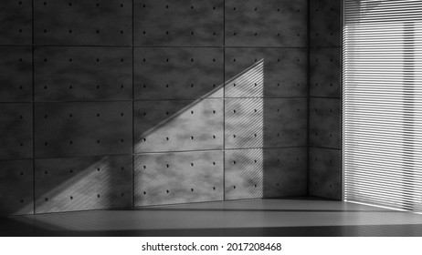 Concrete wall in empty loft with sunlight goes through window blind. High quality 3d illustration. Background with no people.