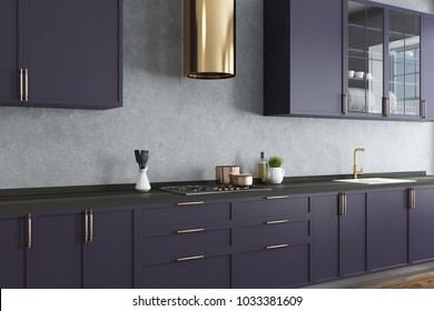 Concrete wall kitchen corner with a wooden floor and dark purple countertops. A close up. 3d rendering mock up