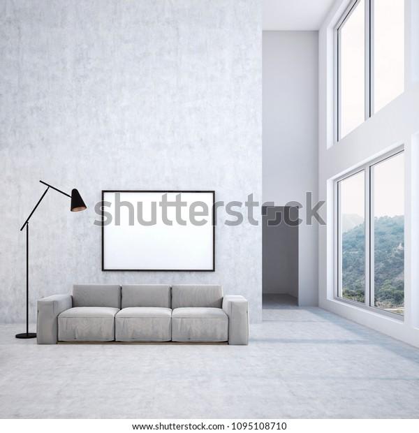 Concrete Wall Living Room Interior Long Stock Illustration