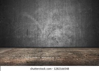concrete wall room, loft interior technical floor