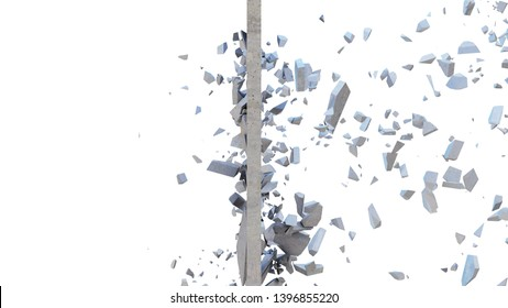 Concrete wall shatters into thousands of small pieces. Cracked earth, abstract background. Explosion, destruction, broken, concrete wall. Isolated on white background, 3D Rendering