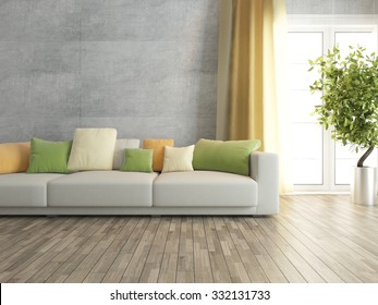 concrete wall with sofa interior design 3d rendering