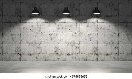 Concrete wall with three hanging lamps as stage 3d rendering