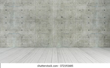 concrete wall and white wooden parquet decor like loft style, background, template design 3d rendering by sedat seven