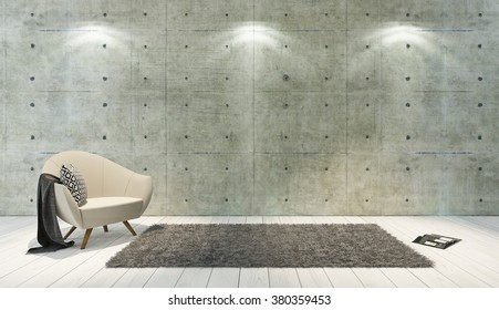 concrete wall and white wooden parquet decor like loft style with single seat, background, template design rendering