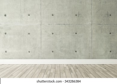 concrete wall and wooden parquet decor like loft style, background, template design