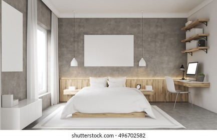 Concrete walls bedroom with study corner and two posters. King size bed and shelves. Concept of good night sleep. Mock up. 3d rendering