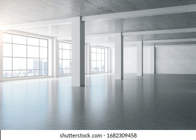 Concrete white interior with columns, brick wall and megapolis city view. 3D Rendering