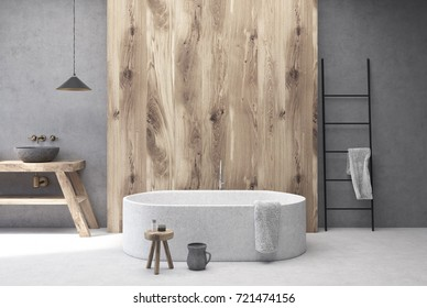 Concrete and wooden bathroom interior with a white floor, a round tub, a gray round sink, a ladder and a jug. 3d rendering mock up