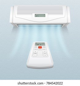 Conditioner with fresh air streams. Climate control in home and office illustration. Air conditioner on wall, conditioning climate