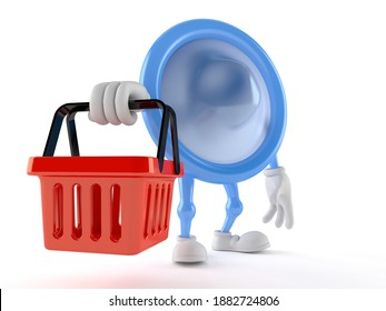 Condom character holding shopping basket isolated on white background. 3d illustration