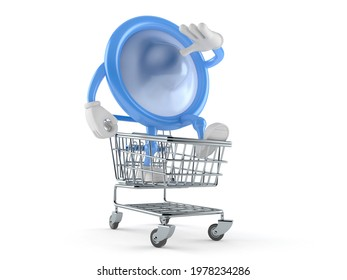 Condom character inside shopping cart isolated on white background. 3d illustration