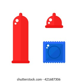 Condom icons isolated on white background. Condom pack. Colored condoms. Sex toys. Flat style illustration.