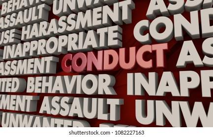 Conduct Behavior Assault Harassment Word Collage 3d Illustration