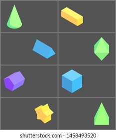 Cone cuboid and cube eight geometric posters pentagrammic pentagonal triangular prisms green octahedron square pyramid raster illustration
