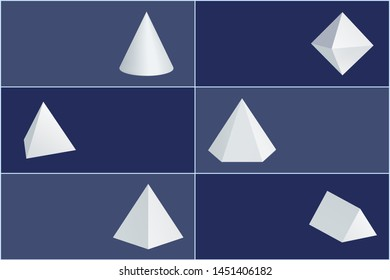 Cone and octahedron figures white prisms. tetrahedron hexagonal or square pyramids triangular geometric shapes raster illustrations set on banners.