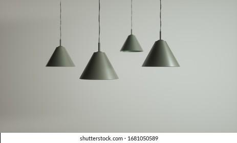 Cone Pendant Lamps. 3d Rendering.