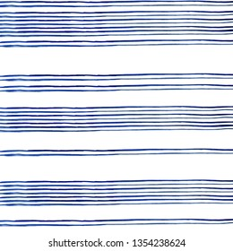 conecte blue stripes of watercolor paint on white background