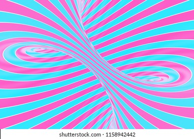 Confection festive pink and blue spiral tunnel. Striped twisted lollipop optical illusion. Abstract background. 3D render. Sweet candy caramel wallpaper.