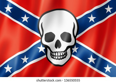 Confederate flag with skull, three dimensional render, satin texture