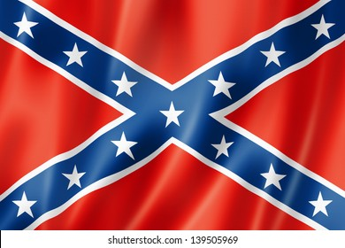 Confederate flag, three dimensional render, satin texture