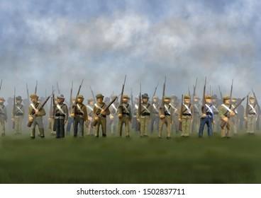 Confederate Soldiers in the U.S. Civil War of the 1860's. Original illustration. CSA