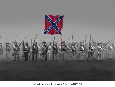 Confederate Soldiers in the U.S. Civil War of the 1860's. Army of Northern Virginia Flag. Original illustration.