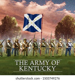 Confederate Soldiers in the U.S. Civil War of the 1860's. Army of Kentucky Flag. Original color illustration.