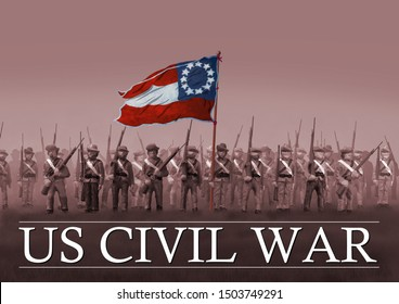 Confederate Soldiers in the U.S. Civil War of the 1860's. First national Confederate Flag. Original illustration.