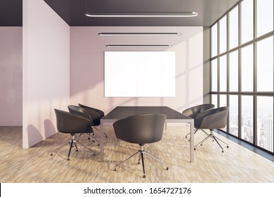 Conference interior with blank billboard on wall. Business and presentation concept. 3D Rendering