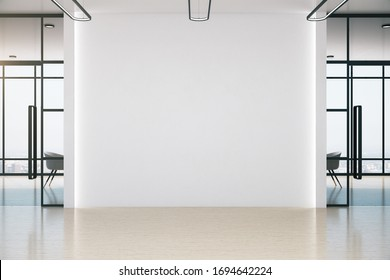 Conference office room with blank white wall, table and chairs. Workplace and lifestyle concept. 3D Rendering