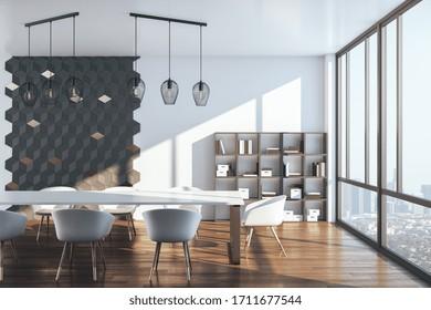 Sala de conferencias con vista panorámica a la ciudad de la megalópolis. Concepto de lugar de trabajo y estilo de vida. Representación 3D