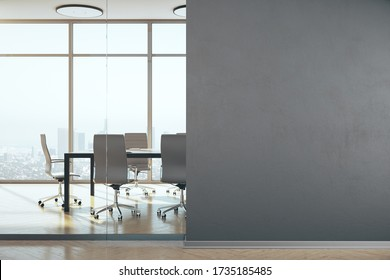 Conference office room with panoramic megapolis city view and blank wall. Workplace and lifestyle concept. 3D Rendering