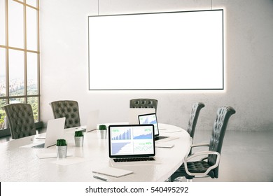 Conference room with business chart on laptop screen and empty whiteboard. 3D Rendering