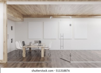 Conference room with glass walls, four vertical posters and a wooden ceiling. Concept of modern interior design. 3d rendering. Mock up